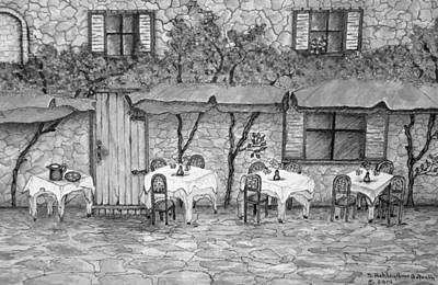 Drawing - Table For Three Black And White by Ashley Goforth
