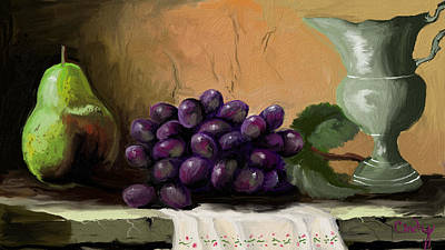 Table Grapes Art Print by Sandra Aguirre