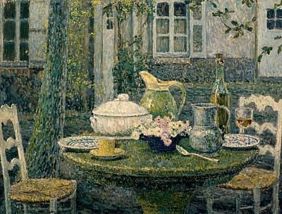 Table Laden For Spring Art Print by Henry Eugene Le Sidaner