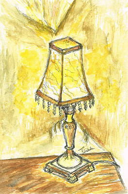 Staff Mixed Media - Table Lamp by Teresa White