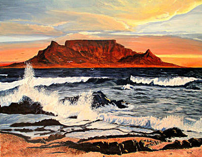 Art Print featuring the painting Table Mountain At Sunset by Hilda and Jose Garrancho