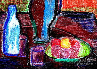 Art Print featuring the pastel Table On Rue Cadet by Bill OConnor