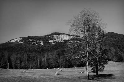 Photograph - Table Rock Beyond A Hay Field In Black And White by Kelly Hazel