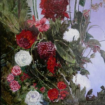 Painting - Table Roses by Marilyn McMeen Brown