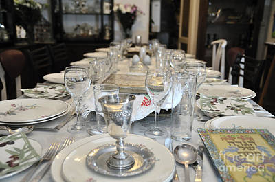 Jewish Heritage Photograph - Table Set For A Jewish Festive Meal On Passover  by Ilan Rosen