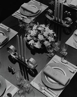Glass Table Reflection Photograph - Table Setting by Eugene Hutchinson