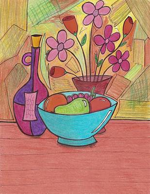 Bottle Of Wine Drawing - Table Setting by Ray Ratzlaff