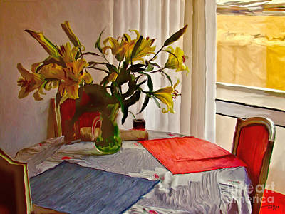 Table Cloth Painting - Table Setting Still Life by Ted Guhl