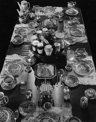 Table Settings On Dining Table Art Print by The 3