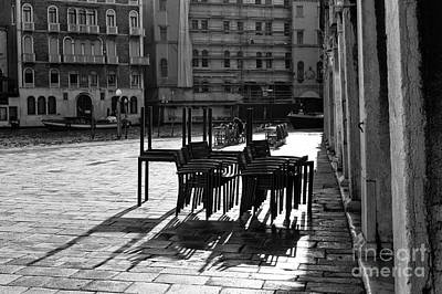 Photograph - Table Silhouette In Venice by John Rizzuto