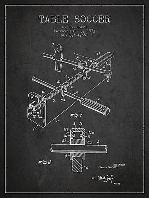 Football Royalty-Free and Rights-Managed Images - Table Soccer Game Patent from 1973- Charcoal by Aged Pixel