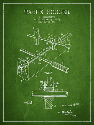 Sports Digital Art - Table Soccer Game Patent From 1973- Green by Aged Pixel