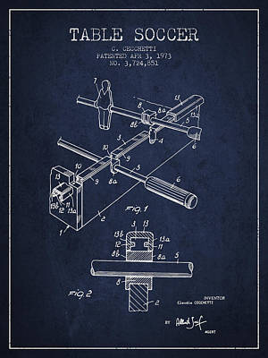 Sports Digital Art - Table Soccer Game Patent From 1973- Navy Blue by Aged Pixel
