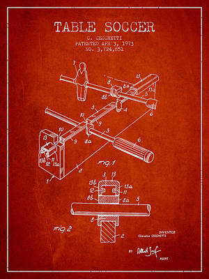 Sports Royalty-Free and Rights-Managed Images - Table Soccer Game Patent from 1973- Red by Aged Pixel