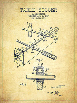 Sports Royalty-Free and Rights-Managed Images - Table Soccer Game Patent from 1973- Vintage by Aged Pixel