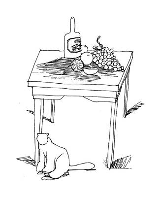 Grapes Drawing - Table With Fruit And Cat by Ch' Brown