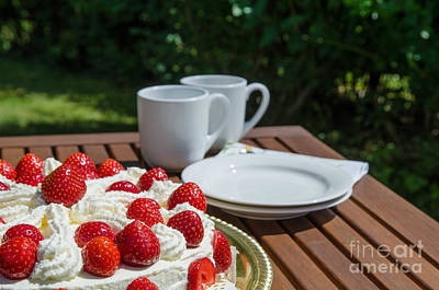 Photograph - Table With Strawberry Cake by Kennerth and Birgitta Kullman