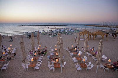 Palapas Wall Art - Photograph - Tables And Chairs On Beach At Dusk by Barry Winiker