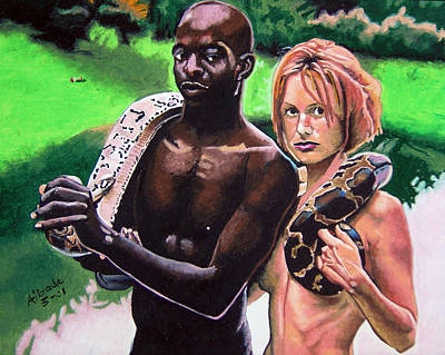 Interracial Nude Painting - Taboo In The Garden by Andre Ajibade