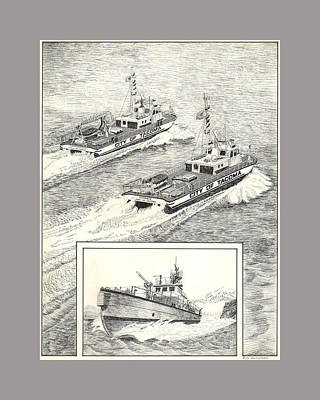 Drawing - Tacoma Fireboats New And Old Number 1 by Jack Pumphrey