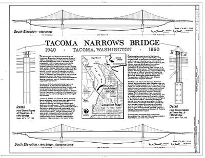 Tacoma Narrows Bridge Habs P1 Print by Photo Researchers