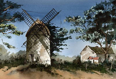 Painting - Wexford Tacumshane Windmill  by Val Byrne