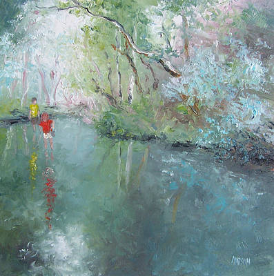 Tad Poling At The Creek Art Print by Jan Matson