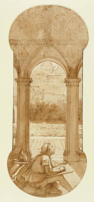 Taddeo Copying Raphaels Frescoes In The Loggia Of The Villa Art Print by Litz Collection