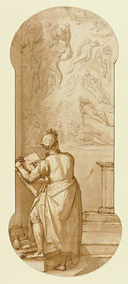 Wash Drawing - Taddeo In The Sistine Chapel Drawing Michelangelos Last by Litz Collection