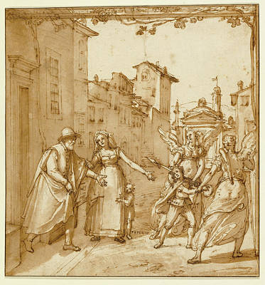 Guardian Drawing - Taddeo Leaving Home Escorted By Two Guardian Angels by Litz Collection