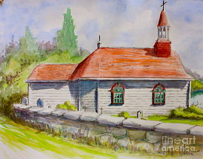 Painting - Tadoussac Church Quebec Canada by Yvonne Ayoub