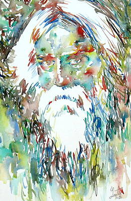 Tagore Painting - Tagore Watercolor Portrait by Fabrizio Cassetta