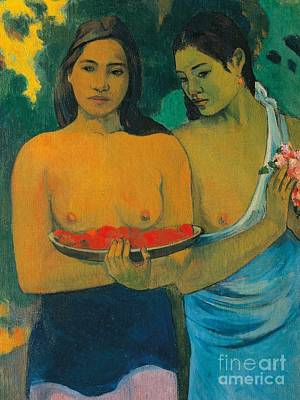 Anatomy Painting - Tahiti Two Tahitian Women by Paul Gauguin