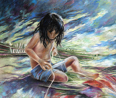 Painting - Tahitian Boy With Knife by Miki De Goodaboom