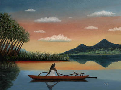 Canoe Mixed Media - Tahitian Morning by Gordon Beck