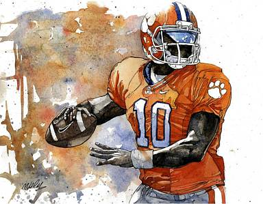Clemson Painting - Tahj Boyd by Michael  Pattison