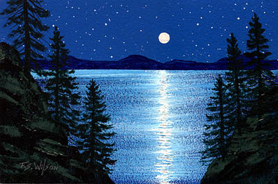 Painting - Tahoe Moonrise by Frank Wilson