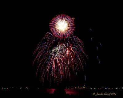 Tahoe Shore Fireworks Original by Janelle Losoff