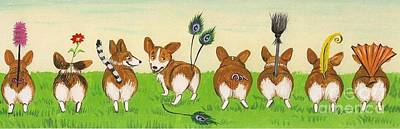 Dog In Landscape Painting - Tail Competition by Margaryta Yermolayeva