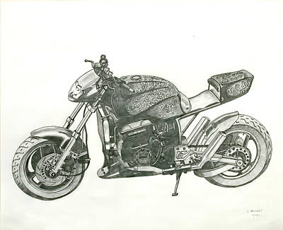 Hand Crafted Drawing - Tail In The Air by Stephen Brooks