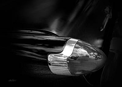 Photograph - Tail Light In  Black And White by Ann Powell