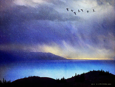 Thunder Painting - Tail Wind Storm On Bear Lake by R christopher Vest
