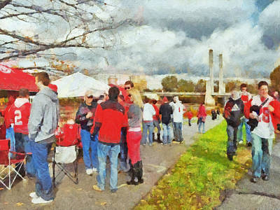 Digital Art - Tailgating Outside Of The Stadium 1 by Digital Photographic Arts