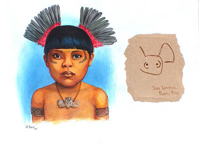 Taino Boy Art Print by Alejandra Baiz