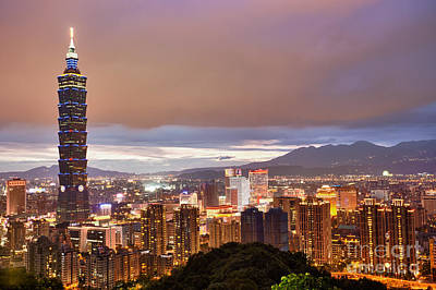 Taipei Photograph - Taipei City Night by Fototrav Print