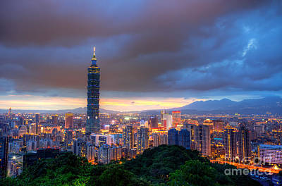 Taipei Photograph - Taipei City Night Skyline  by Fototrav Print