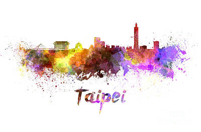Taipei Painting - Taipei Skyline In Watercolor by Pablo Romero