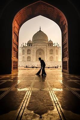 Broom Wall Art - Photograph - Taj Mahal Cleaner by Pavol Stranak
