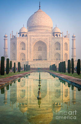 Marble Photograph - Taj Mahal Dawn Reflection by Inge Johnsson