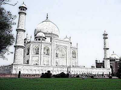 City Digital Art - Taj Mahal Illustration by VRL Art